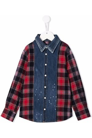 Dsquared2 Checked-panel denim shirt