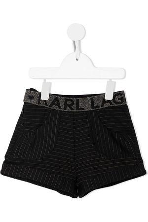 Karl Lagerfeld Waist-logo pinstriped shorts