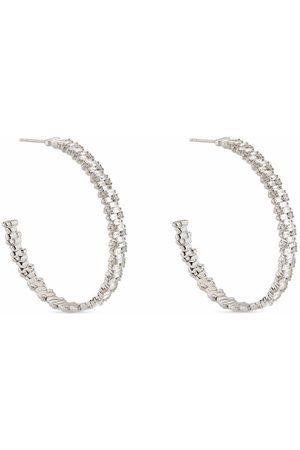 Suzanne Kalan 18kt white gold diamond 45mm hoop earrings