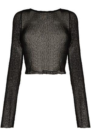 Ambra Maddalena Beckie long-sleeve cropped top