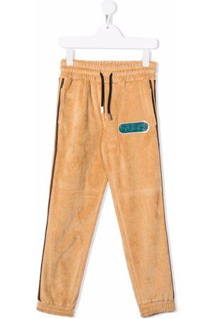 GCDS Logo-patch velvet track pants