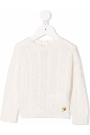 MISS BLUMARINE Cable-knit buttoned jumper