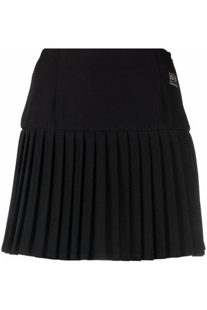 VERSACE Logo patch pleated skirt