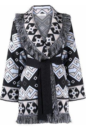 CHARLOTT Geometric-pattern fringed wool coat