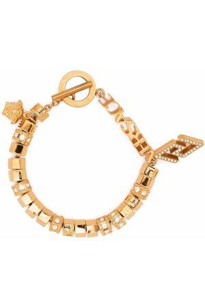VERSACE Greca logo-lettering charm bracelet