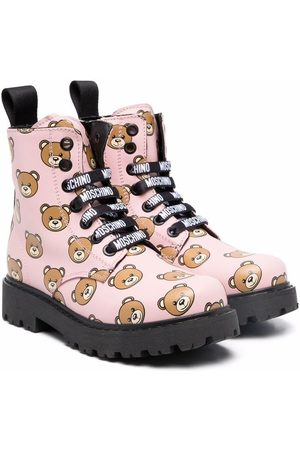 Moschino Teddy print ankle boots
