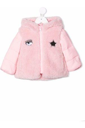 Chiara Ferragni Faux-fur panel embroidered padded jacket