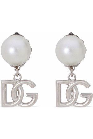 Dolce & Gabbana Logo drop pearl earrings