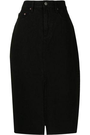 NOBODY DENIM Stranded high-waisted denim skirt