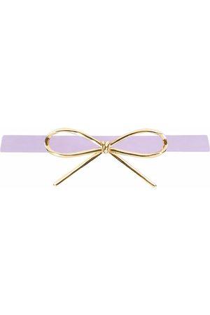 Oscar de la Renta Skinny bow leather waist belt