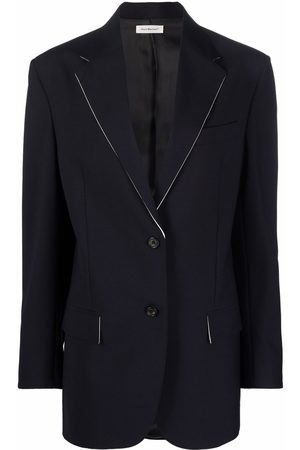 There Was One Contrast-trim oversized button-front blazer