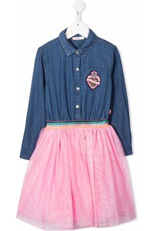Billieblush Tutu-layered denim shirt dress
