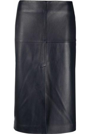 12 STOREEZ Women Leather Skirts - Front-slit leather skirt
