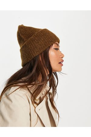 SELECTED Femme brushed wool ribbed knit beanie hat in