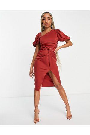 ASOS Asymmetric puff sleeve knot tuck midi dress in terracotta-Copper