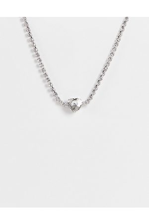 True Decadence Collar necklace in all over crystal and heart pendant