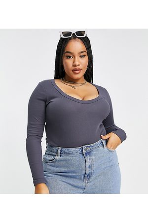 ASOS ASOS DESIGN Curve long sleeve bodysuit with scoop neck and chunky trims in elephant