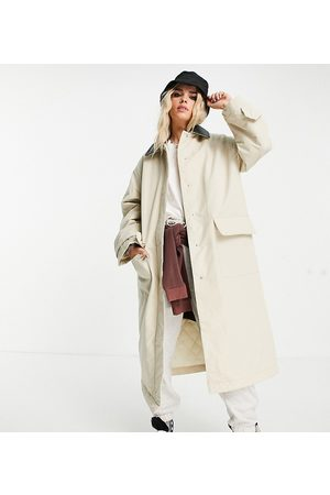 ASOS ASOS DESIGN Petite faux leather collared boyfriend trench coat in stone-Multi