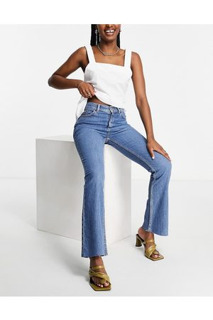 ASOS High rise '70's' stretch flare jeans in midwash