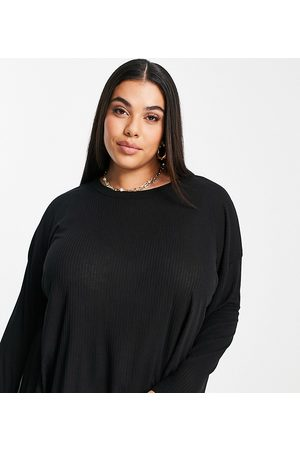 ASOS ASOS DESIGN Curve top with side splits and long sleeve in clean rib in