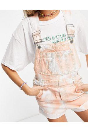 ASOS Denim short dungarees in tie dye-Multi