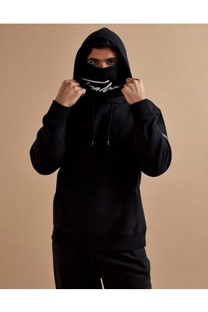 Topman Signature embroidered face covering hoodie in