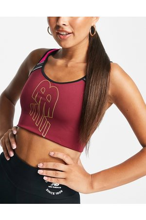 New Balance Running Achiever light support sports bra in burgundy