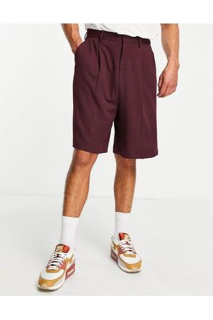 ASOS Bermuda smart shorts in burgundy