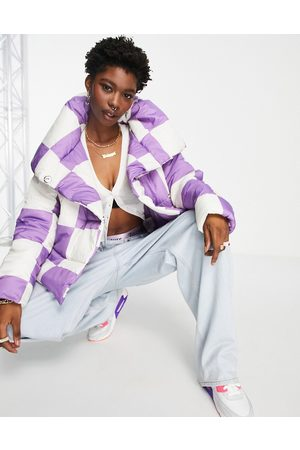 Girlfriend Material Puffer jacket with cape collar in checkerboard