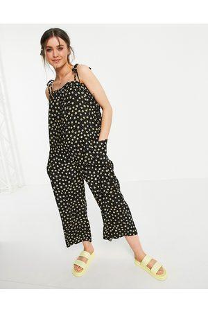 ASOS Cami minimal pocket jumpsuit in dark ditsy-Multi