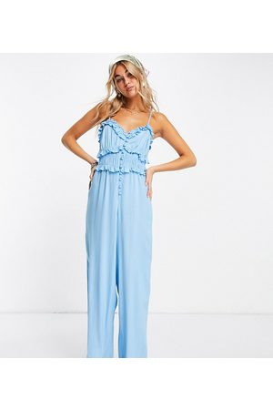 Reclaimed Women Camisoles - Inspired cami jumpsuit with button front in blue-Multi