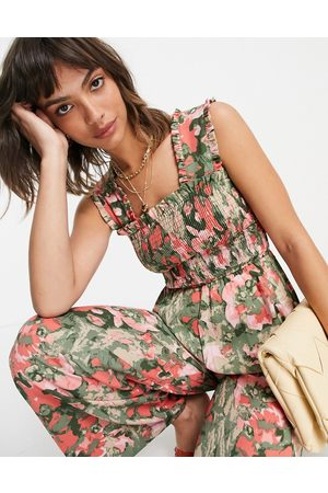 VERO MODA Shirred wide leg jumpsuit in pink and green floral-Multi