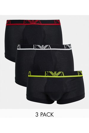 Emporio Armani 3 pack monogram trunks with coloured waistband in