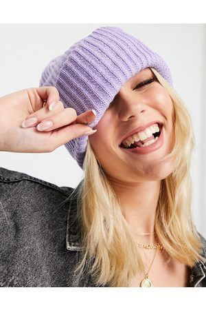 Pieces Recycled blend ribbed beanie in lilac