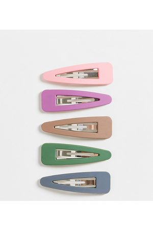 Glamorous Exclusive x5 pack matte hair clips-Multi