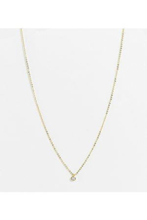 DesignB London Necklace with crystal pendant in plate