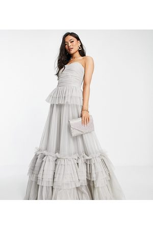Lace & Beads Exclusive strapless tulle maxi dress in
