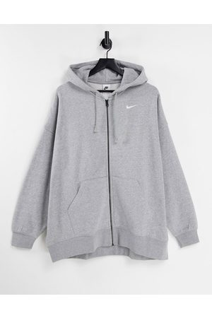 Nike Mini swoosh oversized zip up hoodie in