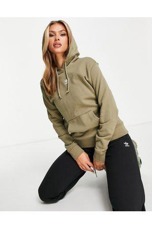 adidas Essentials hoodie in khaki with white logo