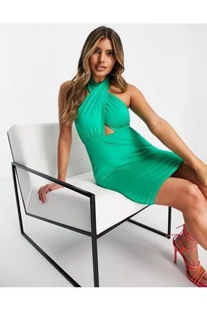 ASOS Halter cross front mini dress in emerald