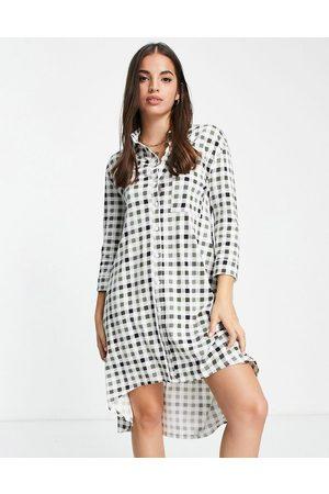 ASOS Women Casual Dresses - Dip hem long sleeve shirt dress in khaki check print