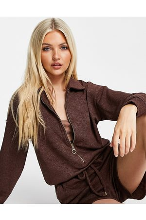 Style Cheat Women Hoodies - Collared zip up lounge playsuit in chocolate