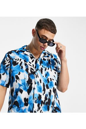 SELECTED Men Casual - Oversized shirt with revere collar in leopard print Exclusive at ASOS