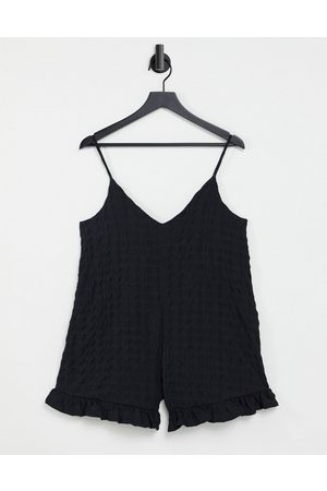 ASOS Women Camisoles - Check crinkle frill hem cami playsuit in