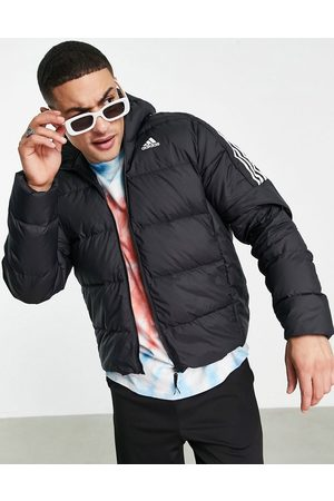 adidas Adidas Outdoor down puffer jacket with hood and three stripes in