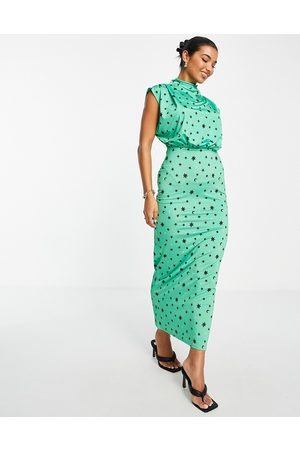 ASOS Drape neck sleeveless maxi dress in emerald star print