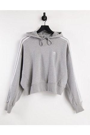 adidas Adicolor three stripe cropped hoodie in