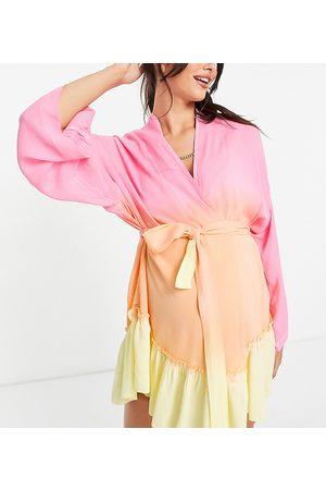ASOS ASOS DESIGN maternity belted beach kimono in ombre print-Multi