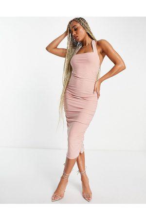 ASOS Women Halterneck Dresses - Ruched bustier halter midi dress in blush-Multi