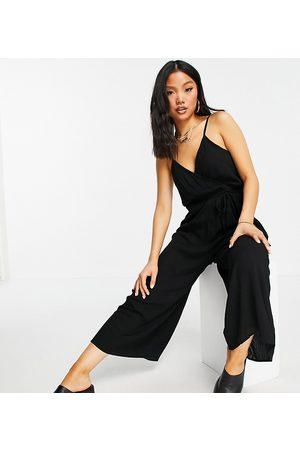 ASOS ASOS DESIGN petite wrap front cami culotte trim jumpsuit in